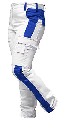 strongAnt Damen Arbeitshose Weiß Pink für Frauen Malerhose 100% Baumwolle mit Kniepolstertaschen....