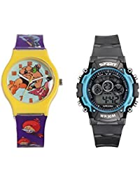 Fantasy World Yellow Watch And Sport Watch Combo For Boys And Girls - B0789M1JQM