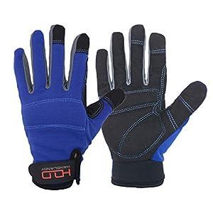 Handlandy – Guantes de trabajo para hombre, flexibles, con pantalla táctil, transpirables, espalda de spandex, nudillos acolchados y palma, azul