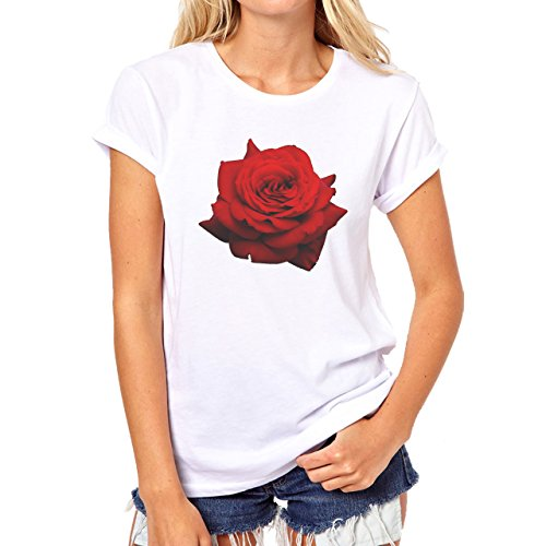 Flowers Nature Blossom Plant Big Blossom Rose Red Damen T-Shirt Weiß