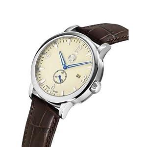 Mercedes Benz - Reloj de pulsera para hombre (con pequeño segundero, acero y piel de becerro), color beige y marrón de Mercedes-Benz