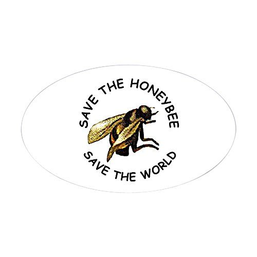 CafePress Save The Bee Aufkleber (oval) Large - 4.5x7.5 weiß