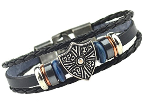 SaySure - Buckle Leather Bracelets Black Charm Bracelets & (Black Tortoise Charm)