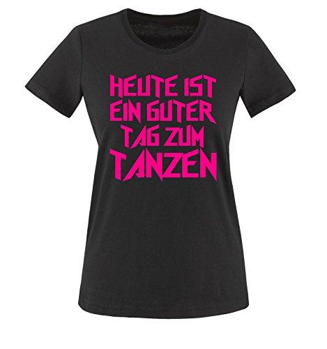 GUTER TAG ZUM TANZEN - Einfarbig - Damen T-Shirt Schwarz/Pink Gr. XS