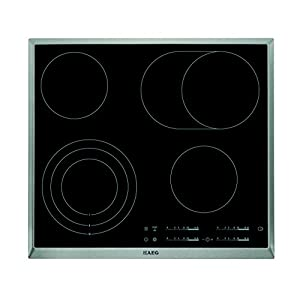 AEG HK654070XB Einbaukochfeld/autarkes Glaskeramikfeld mit 4 ultra-schnellaufglühenden Kochzonen/3-stufige Restwärmeanzeige und Kindersicherung/60 cm Kochfeld mit Edelstahlrahmen/schwarz & silber