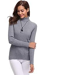 Aibrou Suéter de Manga Larga con Cuello Alto Punto Ligero elástico Suave sólido Abrigo de Cuello Alto para Mujer