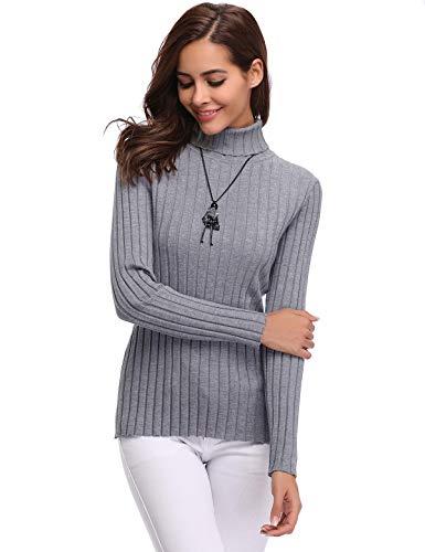 4495632b949 Aibrou Suéter de Cuello Alto, Manga Larga Roll Neck Ligero elástico Prendas  de Punto Jerséis Invierno