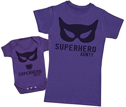 Superhero Niece – regalo para tía y bebés en un body para bebés y una camiseta de tía a juego