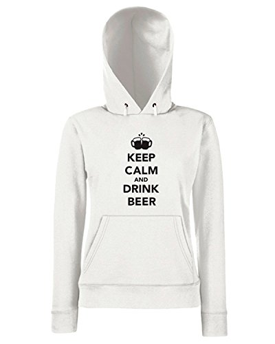 T-Shirtshock - Sweats a capuche Femme BEER0082 Keep calm and drink beer Blanc