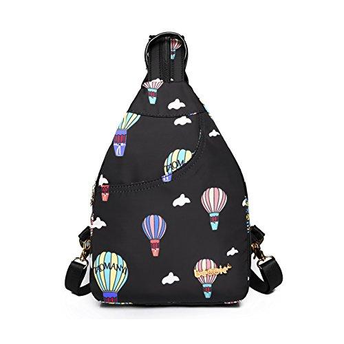 Coolives Damen Mini Rucksack nylon Schön Heißluftballon kleine mode Rucksäcke für Frauen teenager Mädchen Schwarz (Schwarze Kleine Nylon Kleid)