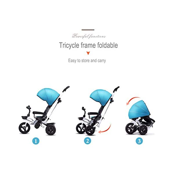 GSDZSY - Foldable Children Tricycle, Push Rod Adjusts Height And Control Direction, Seat Adjustable And Rotating, Baby Can Sit Or Half Lying,1-6 Years Old GSDZSY ❀ Material: High carbon steel + ABS + rubber wheel, suitable for children from 6 months to 6 years old, maximum load 30 kg ❀ Features: The push rod can be adjusted in height, the seat can be rotated 360, the backrest can be adjusted, the baby can sit or recline; the adjustable umbrella can be used for different weather conditions ❀ Performance: high carbon steel frame, strong and strong bearing capacity; non-inflatable rubber wheel, suitable for all kinds of road conditions, good shock absorption, seat with breathable fabric, baby ride more comfortable 4