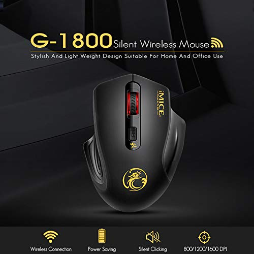 iAmotus Ratón Inalámbrico,  2.4GHz Wireless Ratón Silencioso Ratón Gaming Optico 3DPI de Ajustable con Nano USB Receptor de Mouse Ergonómico para Escritorio/Windows/Linux/Vista/PC/Mac