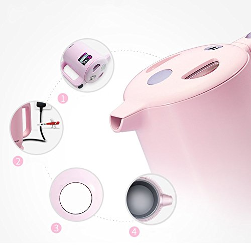 GPC Electric Kettle Plastic 1.0L White/Pink 14 * 23 * 23.2Cm Electric Kettles,Pink