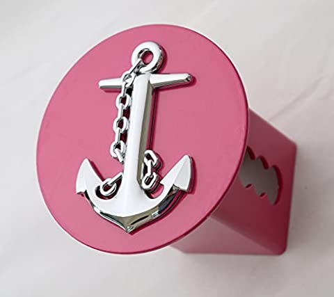 3D Chrome Ship Anchor Emblem on Hot Pink Metal Trailer Hitch Cover Fits 2 Receivers (round) by LFPartS