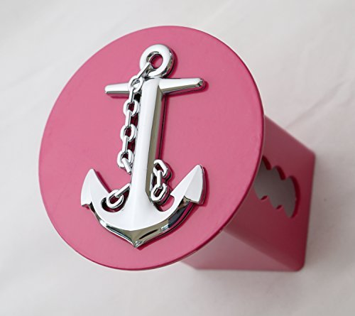 3D Chrome Ship Anchor Emblem on Hot Pink Metal Trailer Hitch Cover Fits 2 Receivers (round) by LFPartS - Receiver Cover Hitch
