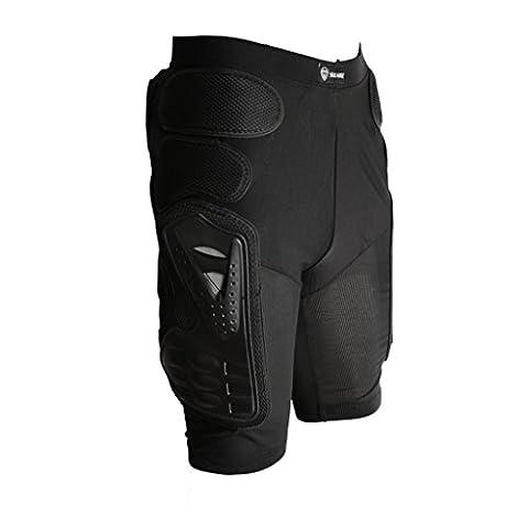 Protection Pantalon Rembourré de Moto Vélo Cuissard Armure Protecteur de Hanche Noir - L, Noir