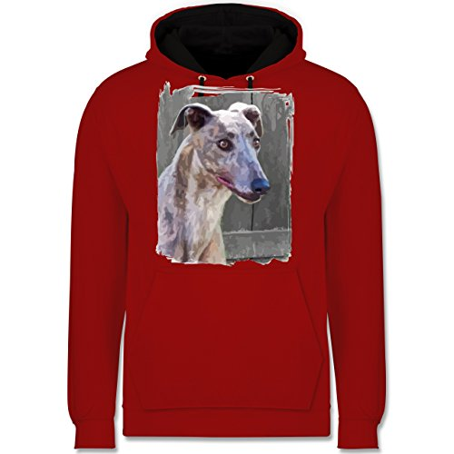 Hunde - Windhund - Kontrast Hoodie Rot/Schwarz