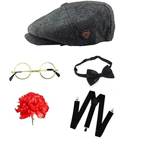 Kostüm Brille Blind - Seemeinthat Peaky Blinders für Erwachsene, mit Flacher Kappe, Fliege, Brille, Hosenträger und Nelke, Nicht von Peaky Blinders hergestellt