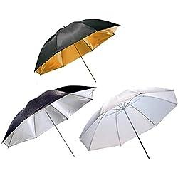 3 x 33 pouces Kit Professionnel avec Parapluie tirer à travers Diffuseur / Portrait Reflective / Reflector Softbox - Blanc / Argent Noir / Or Noir