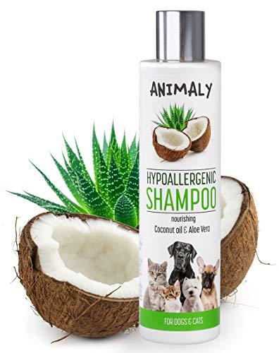 MYANIMALY hypoallergenes Shampoo mit Kokosöl und Aloe-Vera 250 ml, nährendes Shampoo für empfindliche Haut von Hund und Katze, Tiershampoo mit nährender, hypoallergener Antipilzwirkung