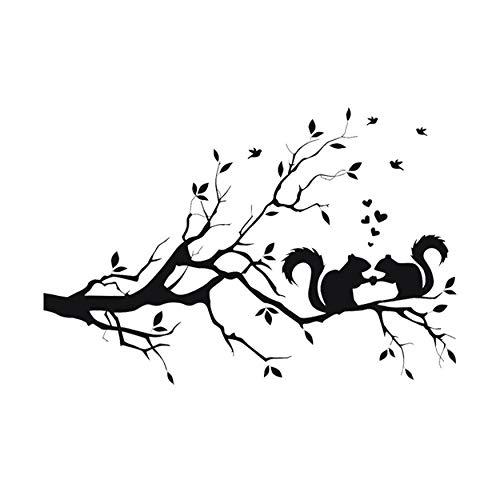 Wandaufkleber Eichhörnchen auf langen Ast Wandaufkleber Tiere Katzen Kunst Aufkleber Aufkleber für Kinderzimmer Wohnkultur 58x38 cm