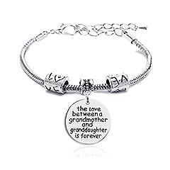 Idea Regalo - Family a forma di cuore, in argento, con grande ciondolo a forma di Braccialetto regalo per nonna e nipote