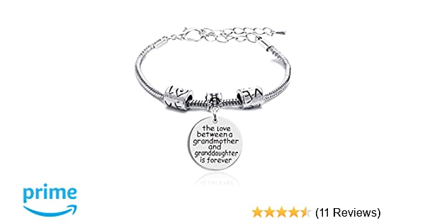 Lauhonmin Family Silver Small Love Heart Big Round Charm Pendant Bracelet Gift for Grandmother and Granddaughter