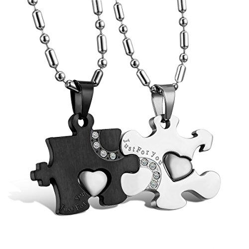 Oidea collana per coppia lovers collana in acciaio inox con pendente puzzle just for you mosaico strass regalo per amante matrimonio anniversario argento nero(1 coppia)