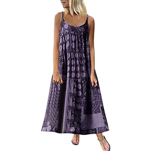 ktailkleid Schöne Kleider Elegantes Sommerkleid Sling Freizeit Sexy Einfarbig Badeurlaub Blumenwellenpunkt Drucken Kleid Kaffee, Lila, S-5XL ()