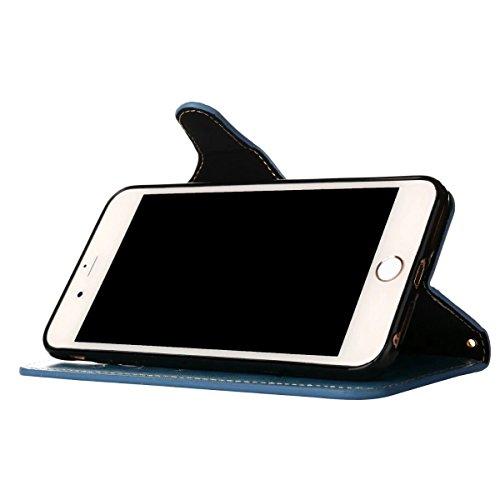 Cover iPhone 7 Plus Custodia, Ougger Tessuto Stile Portafoglio PU Pelle Magnetico Morbido Silicone Flip Cover Bumper Protettivo Gomma Borsa Custodie per Apple iPhone 7 Plus con il titolare della Carta blu