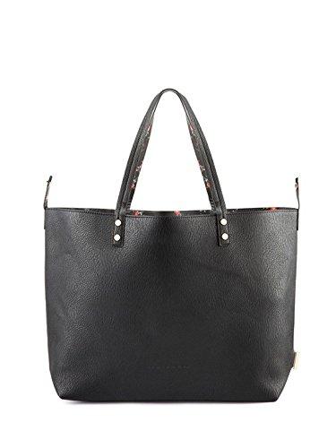 FornarinaAIFBEL079UPUG901 elle-negro de impresión / flor del bolso de la PU bolso grande negro nueva colección otoño invierno 2016 2017