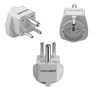 VGUARD UK Adapterstecker, [3 Stück] Reisestecker Travel Adapter Konverter für 3 Pin Schweiz/Italien, 2 Pin EU/USA/China/Japan/Australien/Kanada Stecker auf Indien 3 Pin Buchse - Weiß