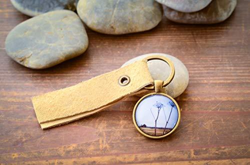 Island alte Hütte Fotografie Schlüsselanhänger Cabochon und Filzanhänger handmade Geschenk für ihn Gift -