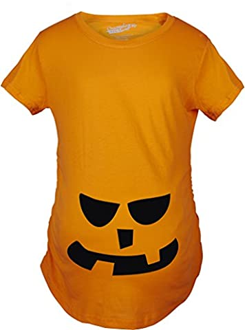 Crazy Dog TShirts - Maternity 2 Teeth Square Nose Pumpkin Face Funny Fall Halloween Spooky T shirt (Orange) 3XL - Femme