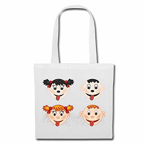 Reifen-Markt sac à bandoulière ENFANTS STRETCH TONGUE OUT FILLE AVEC tresses BOY BLOND Sac Turnbeutel scolaire en blanc