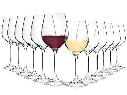 Bluespoon Weingläser Set aus Kristallglas 12 teilig | Füllmenge 520 ml & 400 ml | Perfektes Arrangement bestehend aus Rotwein- und Weißweingläsern