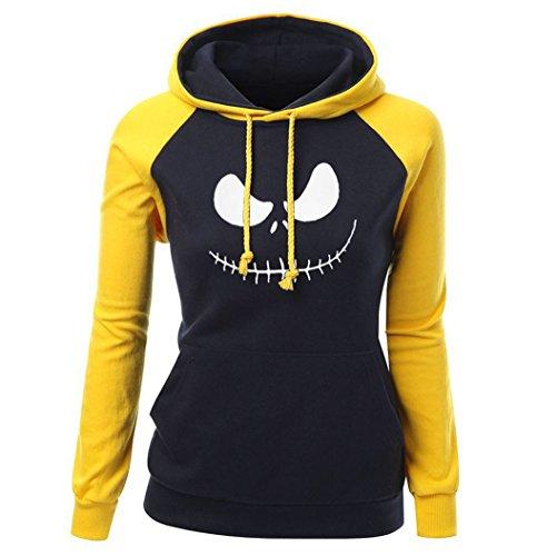 DYF Sweats à Capuche Femme manches longue sangle Hat épaissie poche chaud d'impression Yellow Black