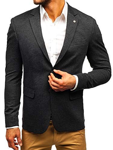 BOLF Herren Sakko Slim Fit Blazer Anzug Elegant Business Style BIBLOS 191060 Dunkelgrau M [4D4]
