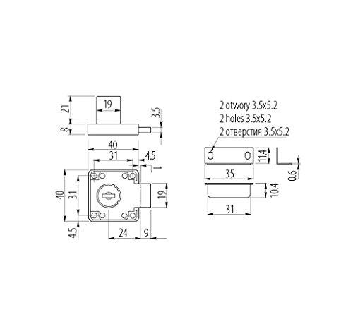 Schrankschloß Möbelschloß Briefkastenschloß 19mm Hebelschloß mit 2 Schlüssel