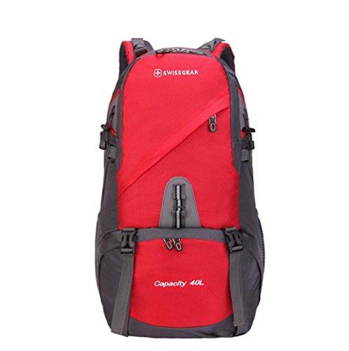 40L impermeabile esterna di grande capienza maschile alpinismo pacchetto femminile borsa da viaggio a tracolla sportiva zaino Studente , blue Red