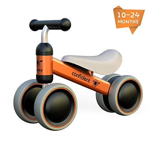 XIAPIA Kinder Laufrad Spielzeug für 10 - 24 Monate Baby, Lauflernrad mit 4 Räder, Erst Rutschrad Fahrrad für Jungen/Mädchen als Geschenke für 1 Jahr Alt (Orange)