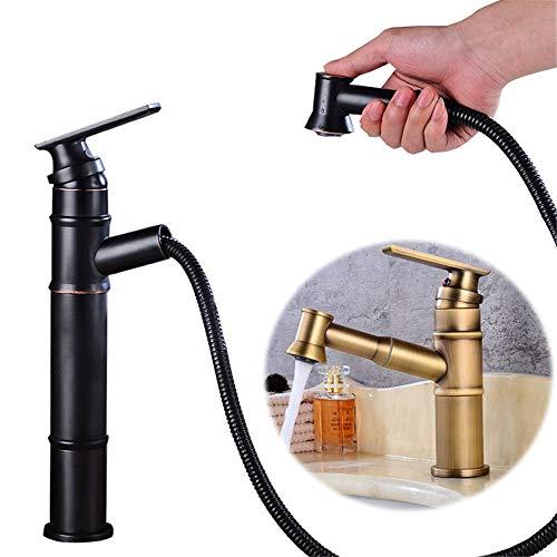 Antik-silber Finish Highlights (Ljleey-HO Wasserhahn Antique Copper Single Pull-Down-Sprayer Kupfer Spüle Multi-Funktions-Ausziehhahn Einhand (Farbe : Schwarz, Größe : Long))