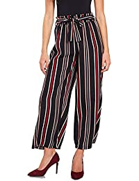 Aglobi Stretchable Printed Spandex Striped Jennings/Ankle-Length Pants Trousers for Women/Girls Free Size (Black,red-Lining Palazzo)
