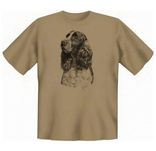 Für den Hundefreund und Tierliebhaber: Springer Spaniel T-Shirt Farbe sand Sand-Braun
