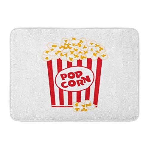 Soefipok Fußmatten Bad Teppiche Outdoor/Indoor Fußmatte rot Grafik Popcorn Box weiß Film Pop großen Eimer gebuttert Badezimmer Dekor Teppich Badematte