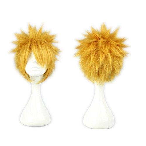 (COSPLAZA Cosplay Wigs Kostueme Perücke Uzumaki 30cm kurz Gold Gelb Blond Maennlich Anime Show Fasching Karneval Haar)