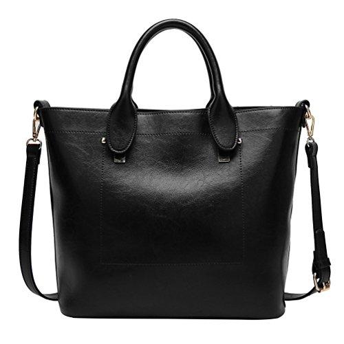 YiLianDa Damen Handtaschen Schultertaschen für Frauen PU Leder Top Griff Messager Handtasche Schwarz