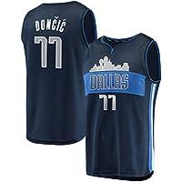 TJeSPORT Hombre Doncic Bordado Jersey Mavericks de Camiseta para (Azul Oscuro, S)