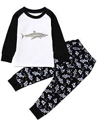 K-youth Ropa Niño Otoño Invierno Infantil Recien Nacido Bebé Niño Camisas de Manga Larga Camisetas Tiburón Impresión Tops + Pantalones Largos Conjuntos De Ropa 1-7 Años