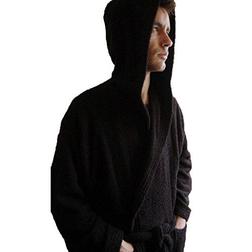 Personalizzato Monogram con cappuccio accappatoio spugna di cotone nero, 100% Cotone, Black, xx-large